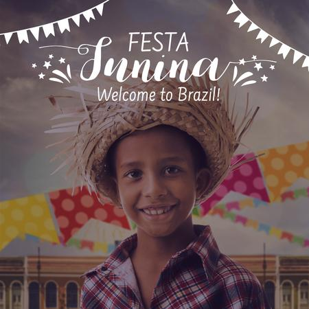 Festa Junina with Smiling Brazilian Kid Instagram Modelo de Design