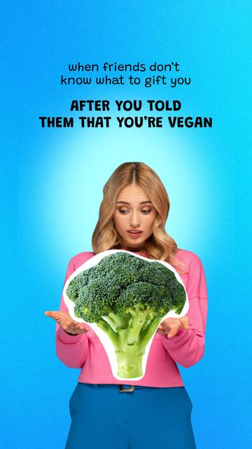 Funny Joke about Vegetarianism with Woman and Huge Broccoli Instagram Story – шаблон для дизайна