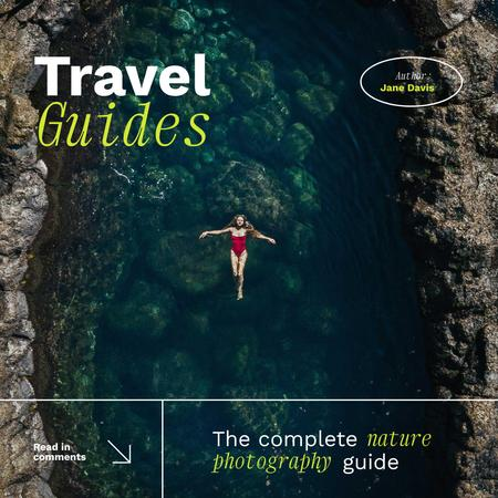 Travel Inspiration with Woman swimming in Lagoon Instagram Design Template