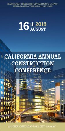 Plantilla de diseño de Construction Conference Announcement Modern Glass Buildings Graphic