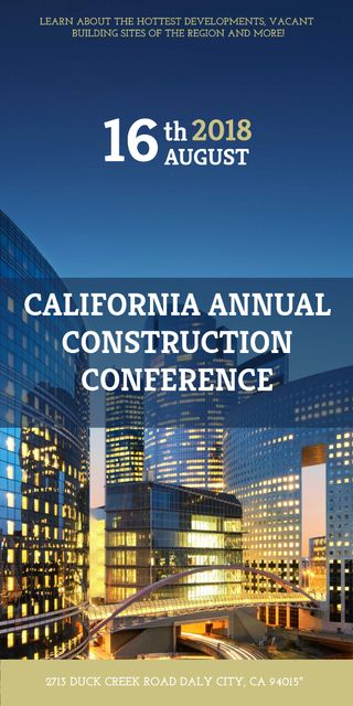 Plantilla de diseño de Construction Conference Announcement Modern Glass Buildings Graphic