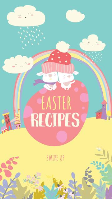 Easter Recipes Ad with Cute Rainbow Instagram Story – шаблон для дизайну
