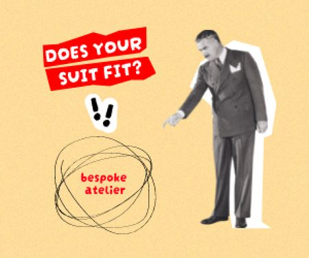 Atelier Services Offer with Man in Formal Suit Medium Rectangle Design Template