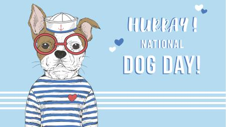 Plantilla de diseño de Dog day greeting Puppy in blue FB event cover