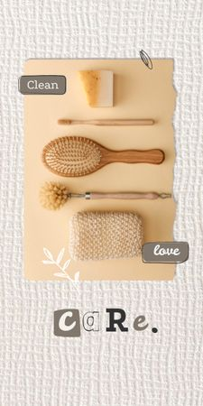 Eco Concept with Wooden Brushes in Basket Graphic Modelo de Design