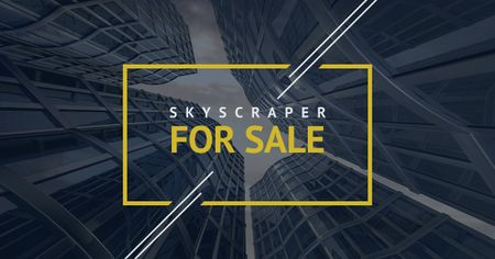 Designvorlage Skyscrapers for sale in Yellow frame für Facebook AD