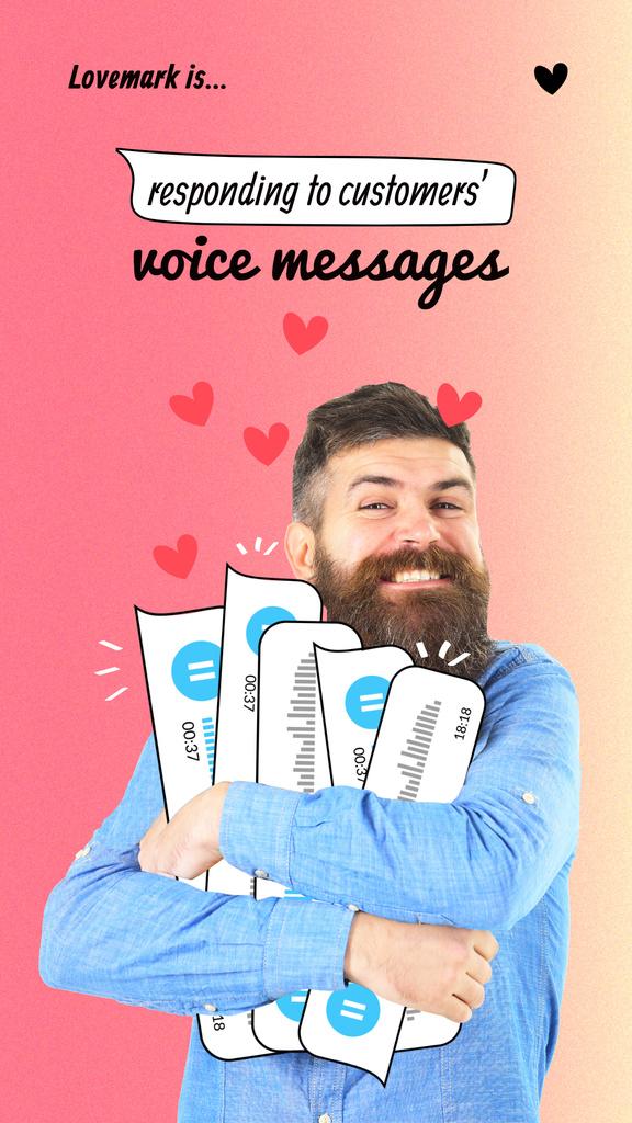 Modèle de visuel Funny Man holding Voice Messages - Instagram Story
