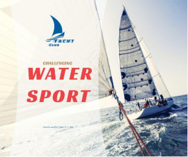 Ontwerpsjabloon van Large Rectangle van Water Sport Yacht Sailing on Blue Sea