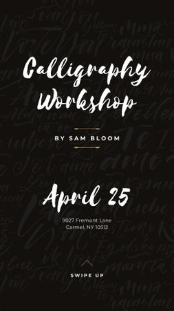 Caligraphy Workshop Annoucement Instagram Story Tasarım Şablonu