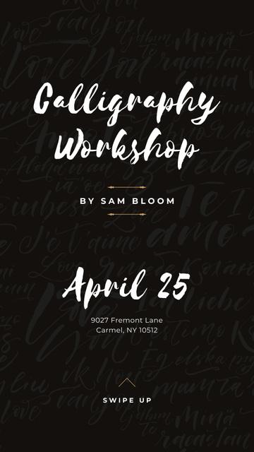 Modèle de visuel Caligraphy Workshop Annoucement - Instagram Story