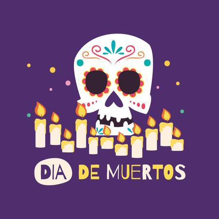 Dia de los Muertos Celebration with Skull and Candles Animated Post – шаблон для дизайна