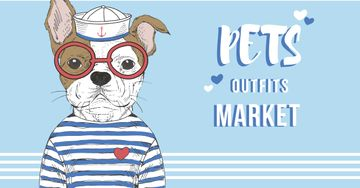Pets Outfits Shop Offer with Funny Bulldog