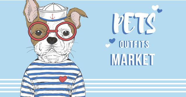 Pets Outfits Shop Offer with Funny Bulldog Facebook AD Modelo de Design
