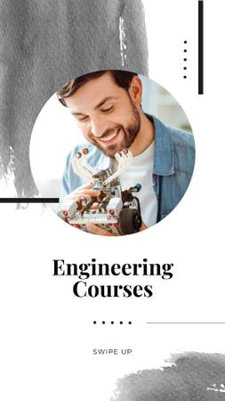 Engineering Courses Ad with Smiling Engineer Instagram Story Design Template
