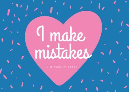 Plantilla de diseño de Cute Apology Phrase with Pink Heart Card