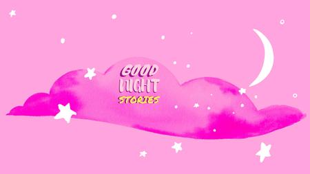 Ontwerpsjabloon van Youtube van Good Night Stories on pink cloud