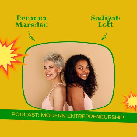 Podcast Topic Announcement with Young Girls Podcast Cover Tasarım Şablonu