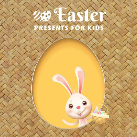 Plantilla de diseño de Easter Cute Bunny with Eggs in basket Animated Post