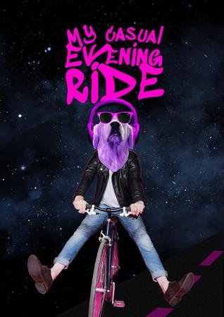 Modèle de visuel Funny Dog in Sunglasses riding Bicycle - Poster