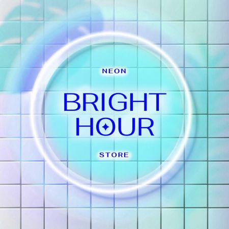 Store Ad with Bright Neon Emblem Logo – шаблон для дизайну