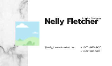 Interior Designer contacts on marble Business card Modelo de Design