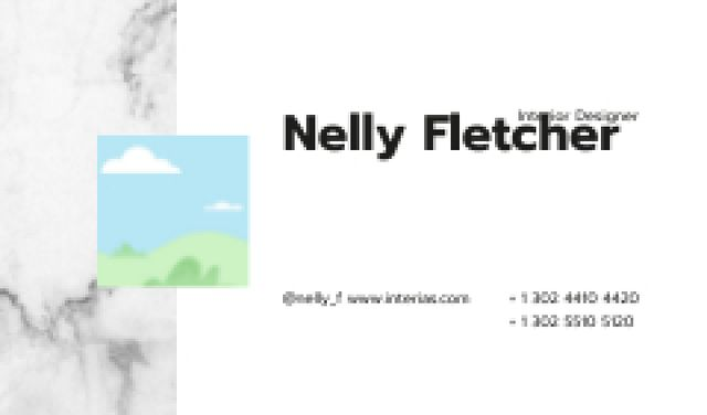 Template di design Interior Designer contacts on marble Business card