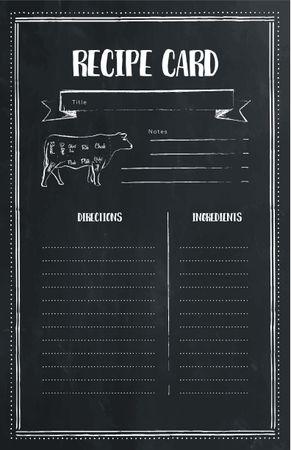 Ontwerpsjabloon van Recipe Card van Cow Graphic illustration