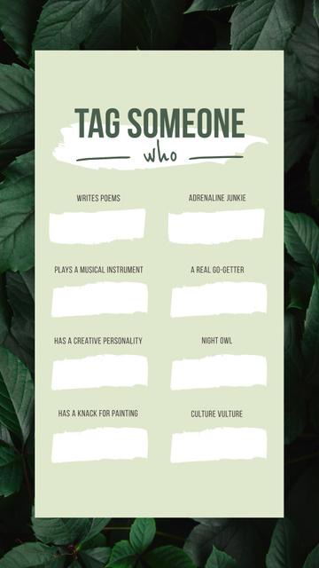 Ontwerpsjabloon van Instagram Story van Tag Someone game on Leaves pattern