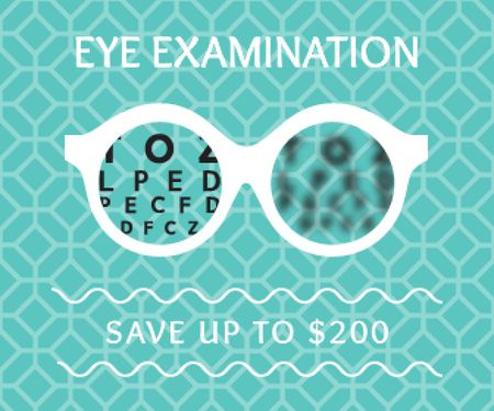 Clinic Promotion Eye Examination Offer in Blue Large Rectangle Modelo de Design