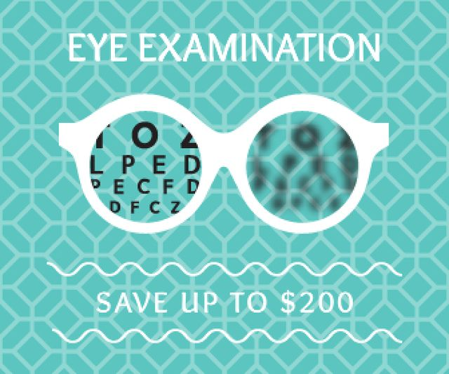 Modèle de visuel Clinic Promotion Eye Examination Offer in Blue - Large Rectangle