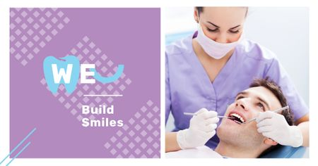 Man at dentist check-up Facebook AD Modelo de Design