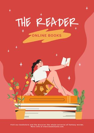 Plantilla de diseño de Girl Reading Books Online Poster