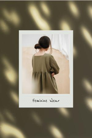 Woman wearing casual Dress Pinterest Design Template