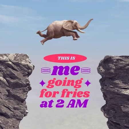 Funny Joke with Elephant jumping between Rocks Instagram – шаблон для дизайна
