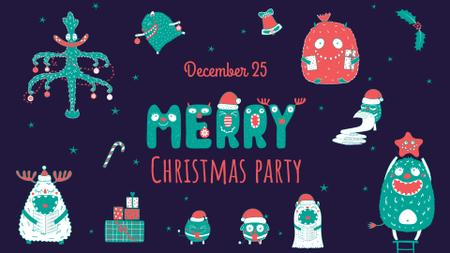 Ontwerpsjabloon van FB event cover van Christmas party Announcement with Funny Characters