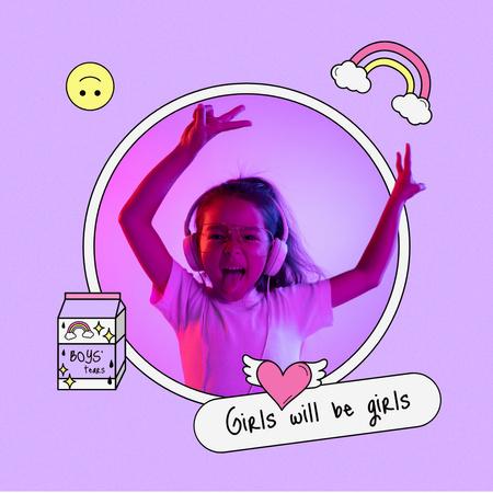 Plantilla de diseño de Funny Cute Little Girl jumping to the Music Instagram
