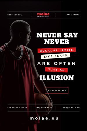 Plantilla de diseño de Sports Quote with Basketball Player with Ball Pinterest