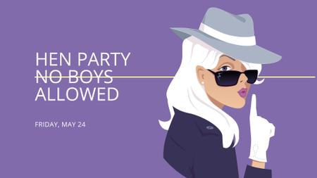 Hen Party Announcement with Woman Detective FB event cover Design Template
