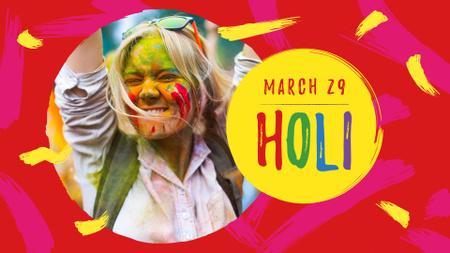 Ontwerpsjabloon van FB event cover van Holi Festival Announcement with Girl in Paint