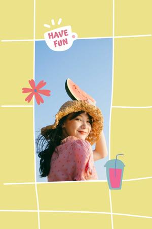 Mental Health Inspiration with Girl holding Watermelon Pinterest Modelo de Design