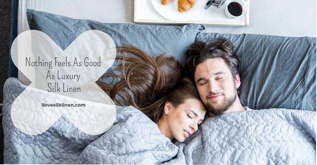 Luxury silk linen with Couple Sleeping Facebook AD Modelo de Design