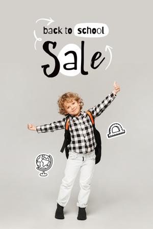 Back to School Sale Offer with Cute Pupil Boy Pinterest – шаблон для дизайна
