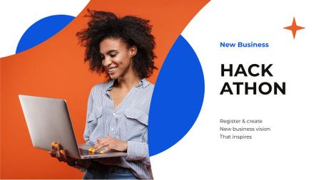 Smiling Woman taking part in Business Hackathon FB event cover Modelo de Design