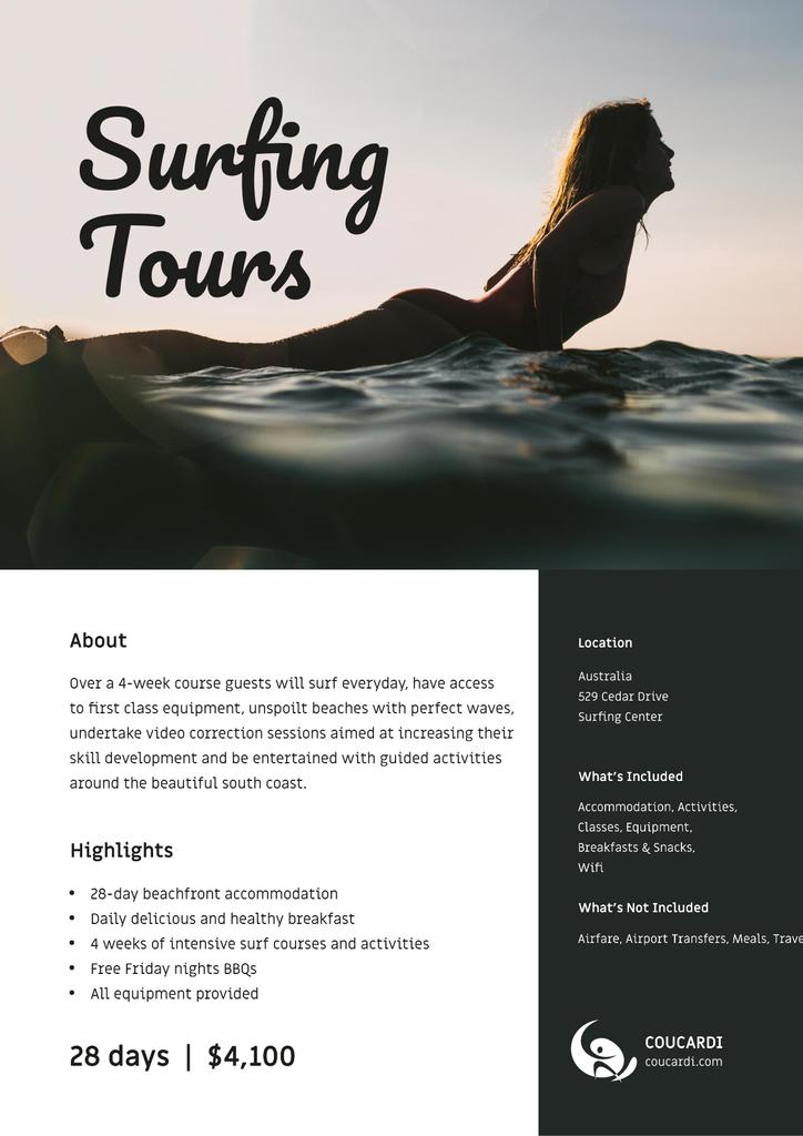 Surfing Tous Offer with Girl on surfboard — Створити дизайн