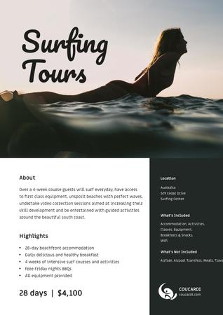 Ontwerpsjabloon van Poster van Surfing Tous Offer with Girl on surfboard