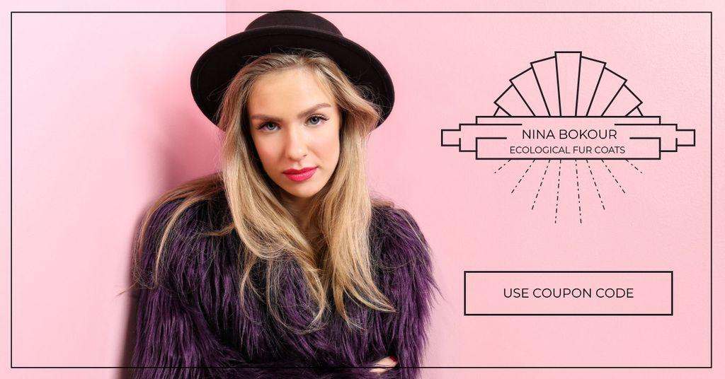 Ecological fur coats fashion ad Facebook AD Design Template