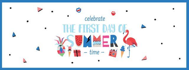 First Day of Summer Celebration Announcement Facebook cover – шаблон для дизайна