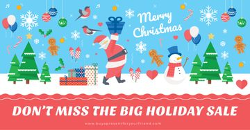 Christmas sale Offer with Santa holding Gift