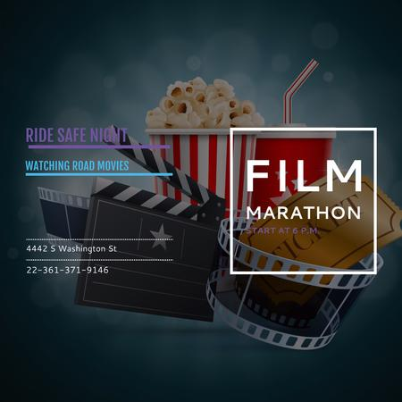Designvorlage Film Marathon Night with popcorn für Instagram AD