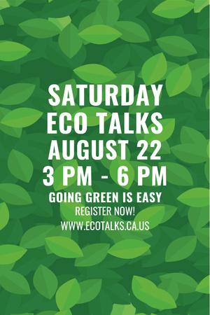 Plantilla de diseño de Ecological Event Announcement with Green Leaves Texture Pinterest